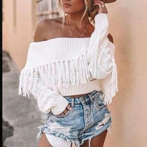 Over The Moon For You Off The Shoulder Sweater-Off